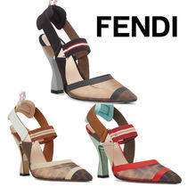 FENDI Wedge Elegant Style Pointed Toe Pumps & Mules