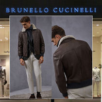 BRUNELLO CUCINELLI Short Plain Leather Biker Jackets