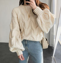 Crew Neck Cable Knit Casual Style Plain Medium Puff Sleeves