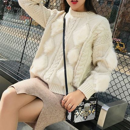 More Knitwear Cable Knit Argile Casual Style Blended Fabrics U-Neck