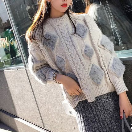 More Knitwear Cable Knit Argile Casual Style Blended Fabrics U-Neck 2