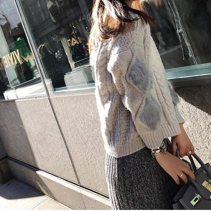 More Knitwear Cable Knit Argile Casual Style Blended Fabrics U-Neck 3