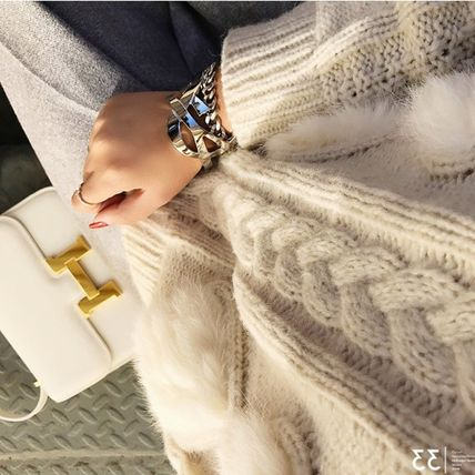 More Knitwear Cable Knit Argile Casual Style Blended Fabrics U-Neck 5