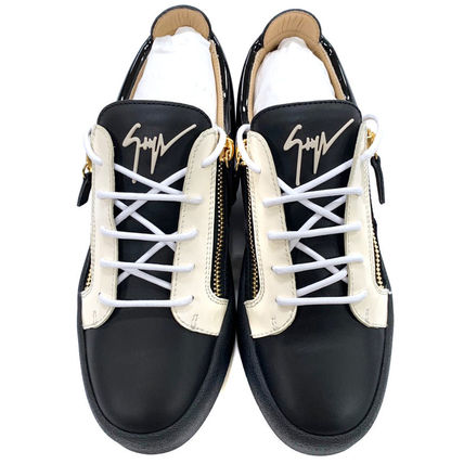 Bi-color Leather Logo Sneakers