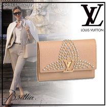 Louis Vuitton Plain Leather With Jewels Folding Wallets
