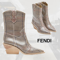 FENDI Other Check Patterns Casual Style Block Heels