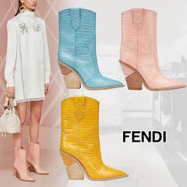 FENDI Casual Style Plain Leather Block Heels Ankle & Booties Boots