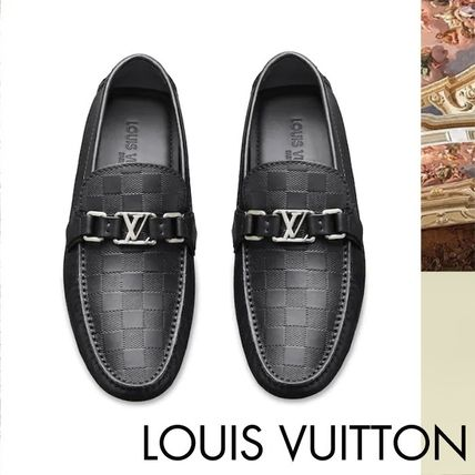 5b9642c2a2c4 Louis Vuitton DAMIER 2019 SS Moccasin Leather Loafers   Slip-ons ...