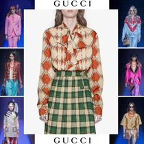 GUCCI Silk Long Sleeves Other Animal Patterns Elegant Style