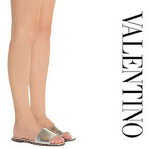 VALENTINO Open Toe Casual Style Studded Plain Leather Slippers Sandals