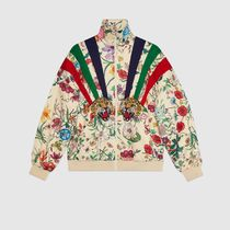 GUCCI Short Stripes Flower Patterns Blended Fabrics Jackets