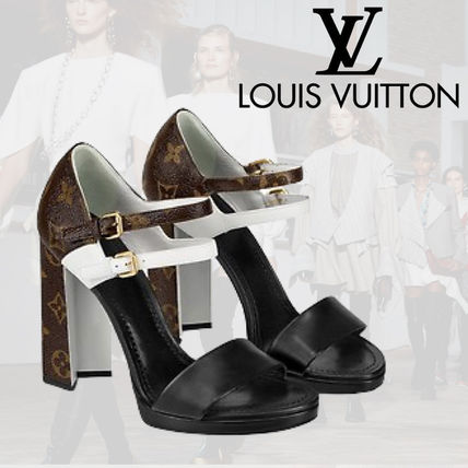 fcb571da492 Louis Vuitton Monogram Plain Leather Heeled Sandals (1A4W7H) by ...