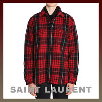 Saint Laurent Tartan Casual Style Wool Long Sleeves Shirts & Blouses