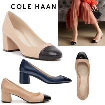 Cole Haan Plain Toe Bi-color Leather Block Heels