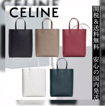 CELINE Cabas Casual Style 2WAY Plain Leather Totes