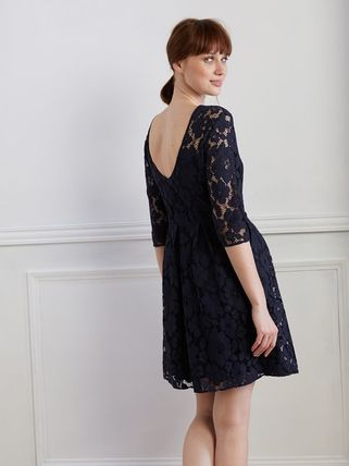 Blended Fabrics Flared Cropped Plain Medium Lace With Jewels
