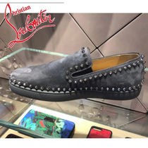 Christian Louboutin Suede Studded Plain Loafers & Slip-ons