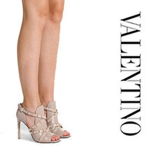 VALENTINO Open Toe Studded Plain Leather Pin Heels