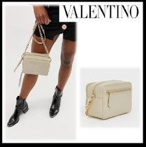 VALENTINO Casual Style Blended Fabrics Plain Shoulder Bags