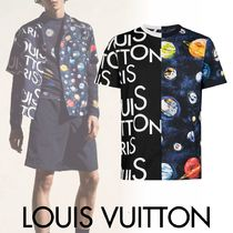 Louis Vuitton Crew Neck Pullovers Star Cotton Short Sleeves