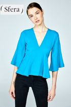 Sfera Casual Style Cropped Plain Medium Shirts & Blouses