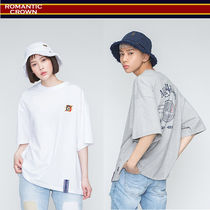 ROMANTIC CROWN Unisex Street Style Oversized T-Shirts
