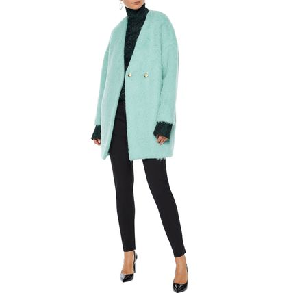 Stand Collar Coats Wool Plain Medium Elegant Style Coats