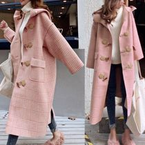 Other Check Patterns Wool Elegant Style Duffle Coats