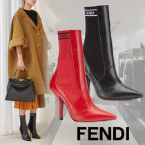FENDI Casual Style Plain Leather Pin Heels High Heel Boots