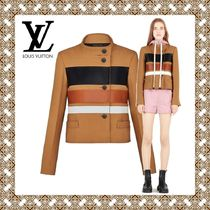 Louis Vuitton Short Stripes Wool Blended Fabrics Elegant Style Jackets