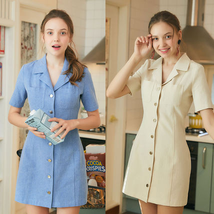 Casual Style Plain Cotton Medium Short Sleeves Dresses