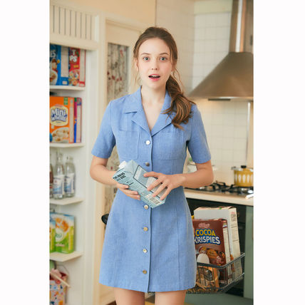Casual Style Plain Cotton Medium Short Sleeves Logo Dresses