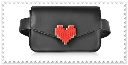 Heart Casual Style Studded Plain Leather Shoulder Bags