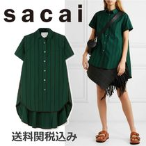 sacai Stripes Blended Fabrics Cotton Short Sleeves Oversized