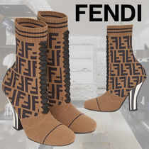FENDI Stripes Casual Style Ankle & Booties Boots