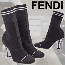FENDI Stripes Casual Style Plain Ankle & Booties Boots