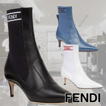FENDI Casual Style Plain Leather Pin Heels Ankle & Booties Boots