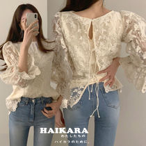 Flower Patterns Casual Style Medium Lace Shirts & Blouses