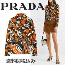 PRADA Flower Patterns Casual Style Blended Fabrics Long Sleeves