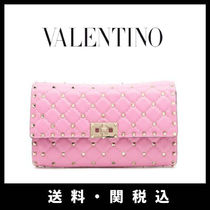 VALENTINO Studded 2WAY Chain Plain Leather Elegant Style Shoulder Bags