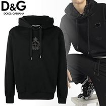 Dolce & Gabbana Pullovers Unisex Long Sleeves Plain Cotton Hoodies