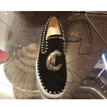 c9aec73560e9 ... Christian Louboutin Loafers   Slip-ons Suede Studded Plain Loafers ...