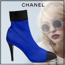 CHANEL Plain Toe Bi-color Plain Pin Heels Elegant Style