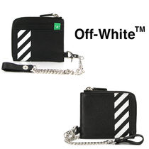 Off-White Monogram Unisex Street Style Chain Leather Coin Cases