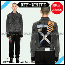Off-White Short Unisex Blended Fabrics Denim Jackets Jackets
