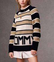 Tommy Hilfiger Crew Neck Stripes Casual Style Long Sleeves Medium Sweaters