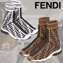 FENDI Monogram Plain Toe Rubber Sole Casual Style Street Style