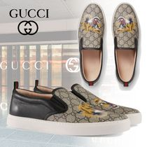 GUCCI Monogram Blended Fabrics Leather Loafers & Slip-ons