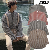 ASCLO Stripes Casual Style Unisex Long Sleeves Cotton Medium
