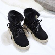 Mountain Boots Round Toe Rubber Sole Casual Style Faux Fur